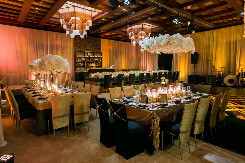 Black And Gold White Wedding Reception