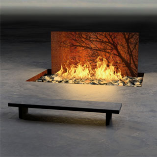 In-ground Corten Steel Fire Arc with Acid Etched Tree