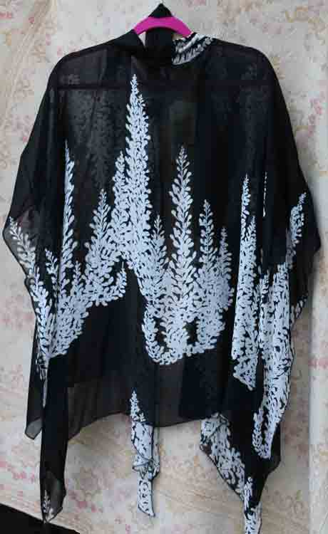 Black Silky Ruana w/White Leaves- Back