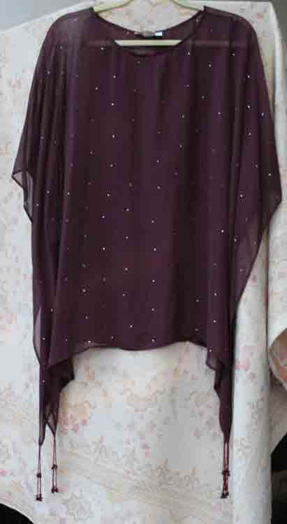 Brown Sparkled Sheer Poncho