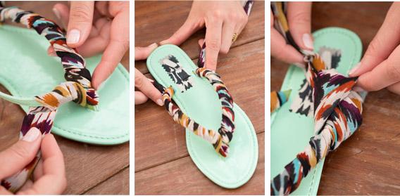 Como decorar unas sandalias con trapillo Aqu el paso a