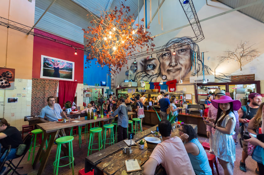 89240224 - melbourne, australia - february 7, 2016: lentil as anything is a social enterprise vegetarian restaurant at abbotsford convent in inner city melbourne.
