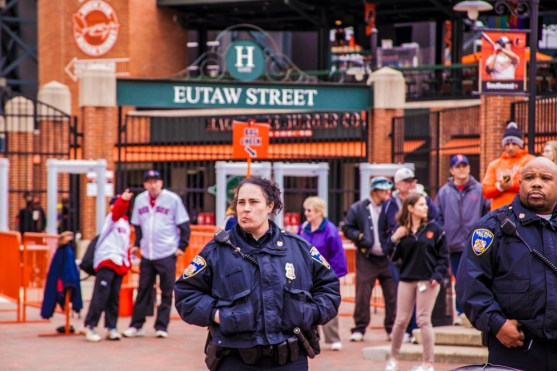 During the entire Freddie Gray march on April 25th, 2015 the main police presence was at Oriole Park at Camden Yards.