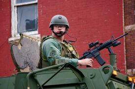 On April 28th, 2015 the Maryland National Guard arrived, in Baltimore with fully loaded assault rifles.