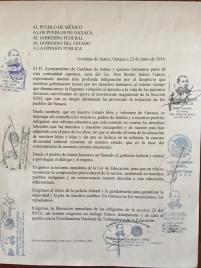 Statement from the people of Guelatao de Juárez, signed on by the municipal authorities of the Sierra Juárez. // Pronunciamiento del pueblo de Guelatao de Juárez y adhesiones de autoridades municipales de la Sierra Juárez.