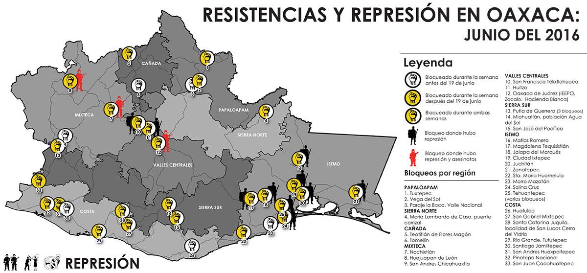 A partir del 11 de junio, varios bloqueos empezaron a aparecer en distintos puntos del estado de Oaxaca.