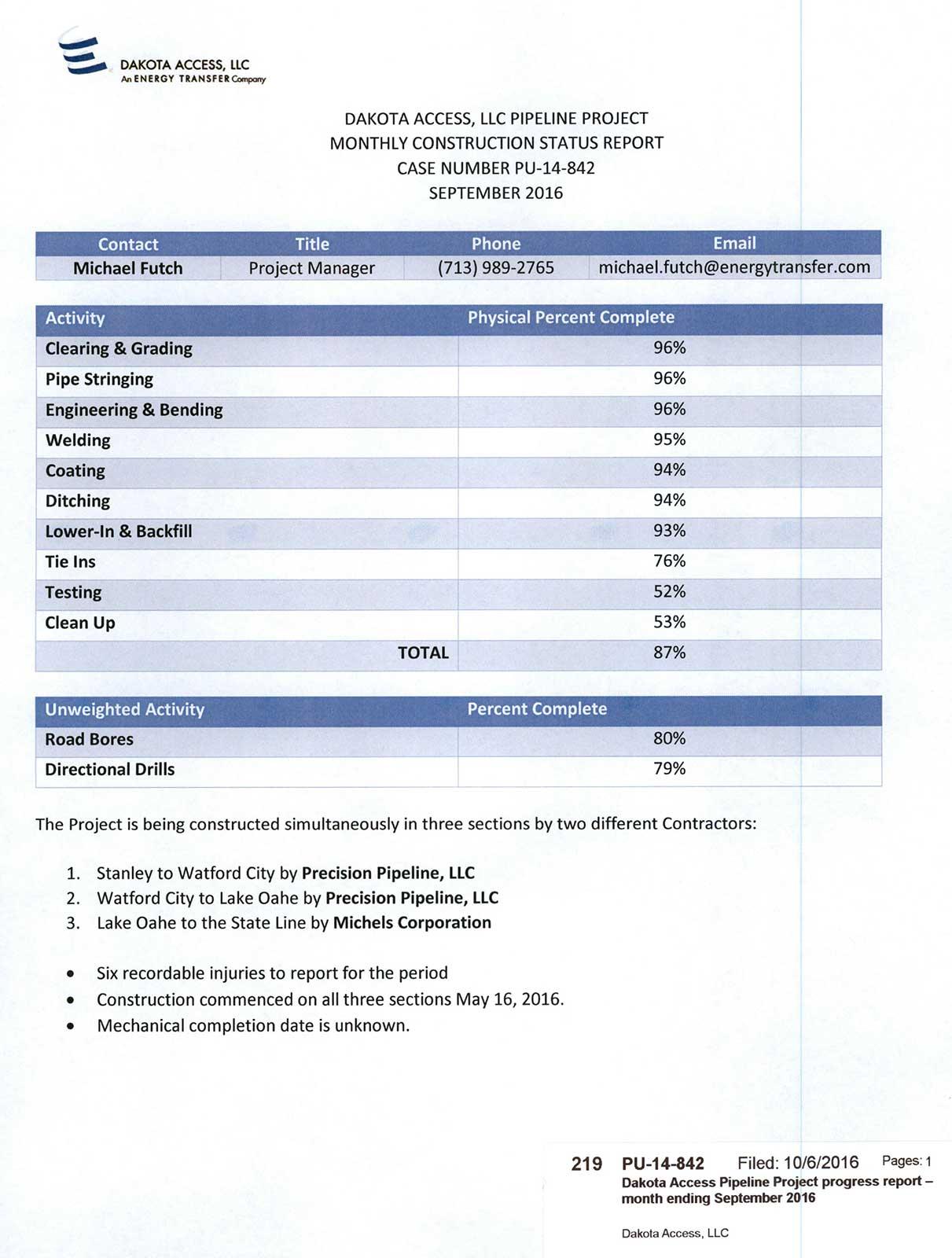 DAPL Monthly Progress Report