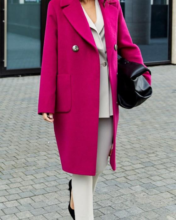Пальто «Кокон» с английским воротником и втачным рукавом