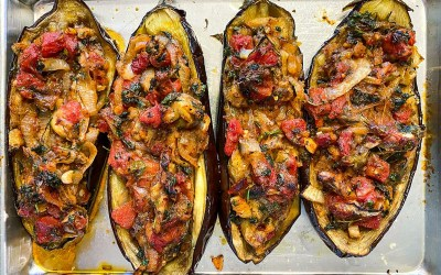 Imam Bayildi (Eggplants Stuffed with Tomatoes and Onions)