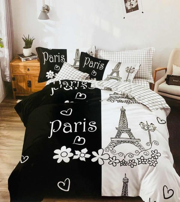 Lenjerie de pat Pucioasa din bumbac finet 6 piese Paris alb negru