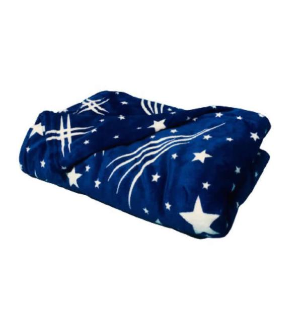Paturica cocolino pufoaza albastra cu stelute 200x230 cm