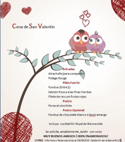 Men Cena De San Valentn Entre2 Petit Bistro