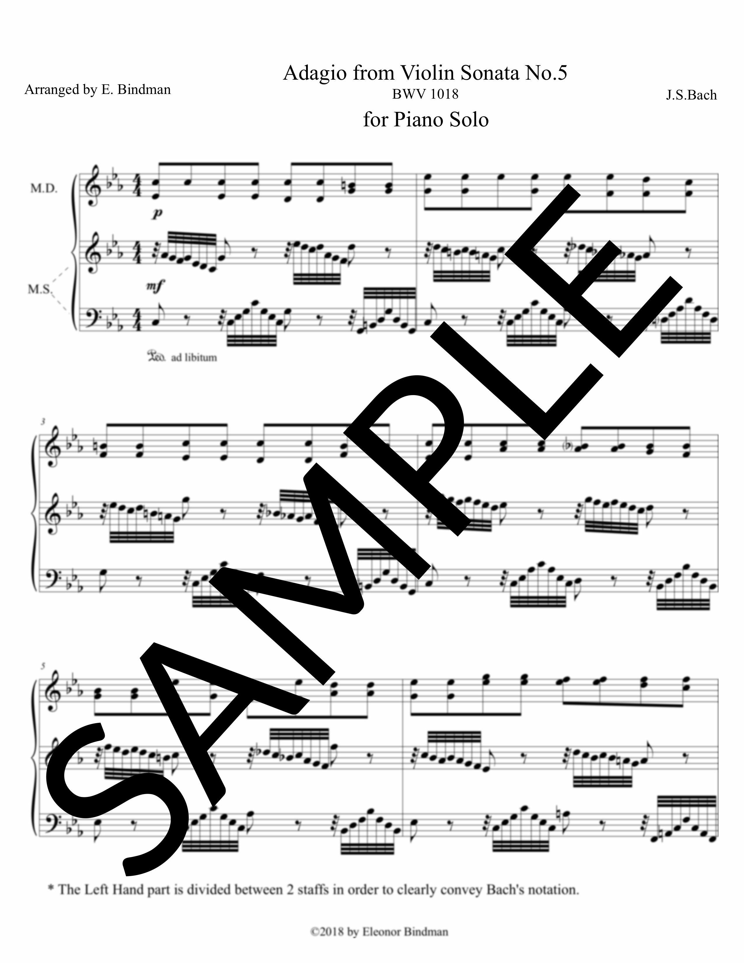 J.S. Bach: Adagio from Violin Sonata No. 5 for Solo Piano