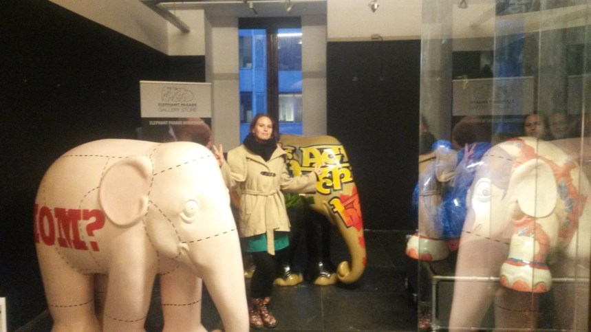 Posing with some of the exhibited elephant sculptures #NotARealSelfie