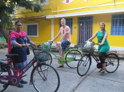 Cycle tour through Pondicherry! I almost died several times because i can't actually cycle as it turns out but was fun anyway!