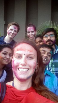 Playing Holi with colleagues in fron of our office building (0:2)