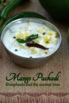 raw mango pachadi. Kerala Sadhya recipes
