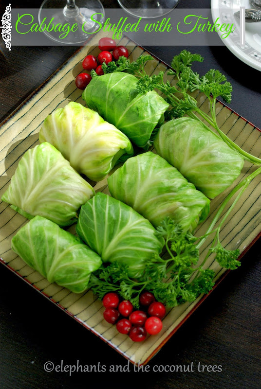 cabbage stuffed with turkey and rice