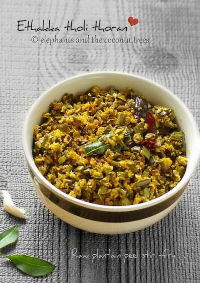 Thumbnail for Ethakka tholi thoran / Kaya tholi thoran / Raw plantain peel stir-fry