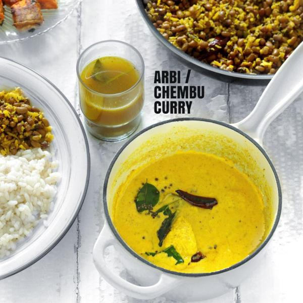 Taro root yogurt curry, arbi curry, chembu curry