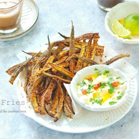 Okra Fries | Baked, vegan, crispy ladies finger |
