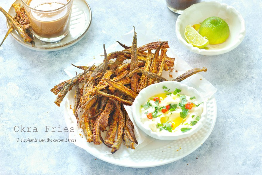 Okra Fries  Baked, vegan, crispy ladies finger