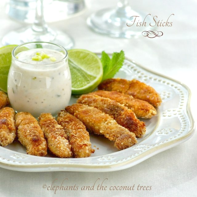 fish sticks with tartar sauce ,elephants and the coconut trees