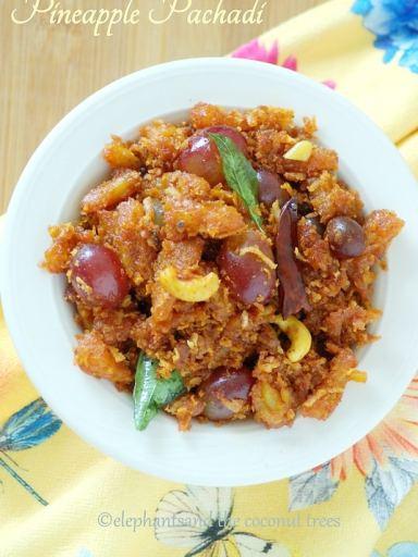 Pineapple pachadi without yogurt / Kerala sadya special madhura pachadi / Vegan spicy pineapple recipe