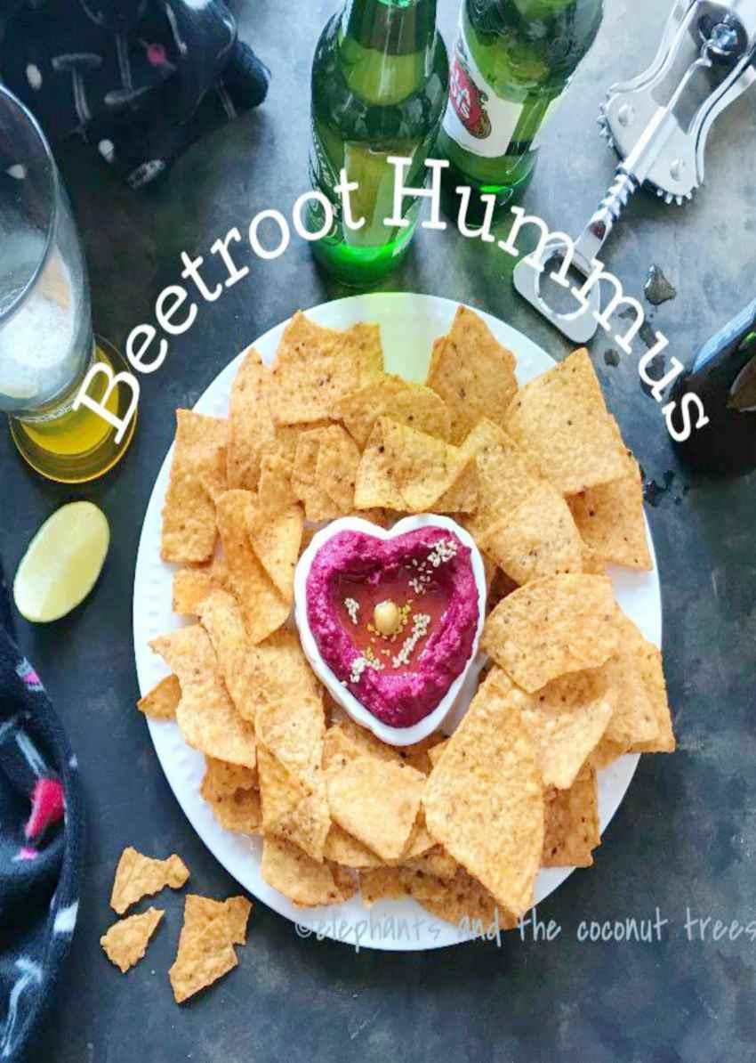 Beetroot hummus,Dips and pickles