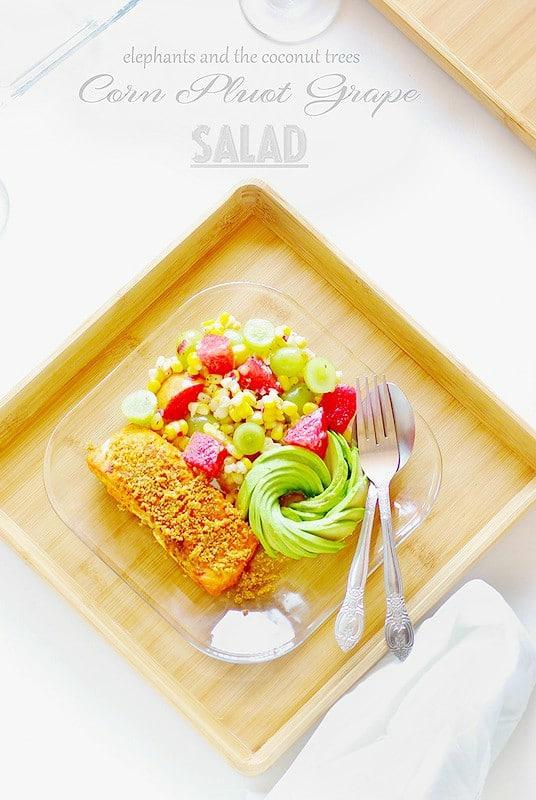 Corn, Pluot and Grape Salad