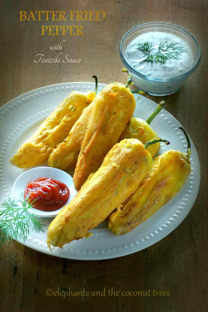 batter fried pepper / mirchi pakoda,Easy Diwali sweets