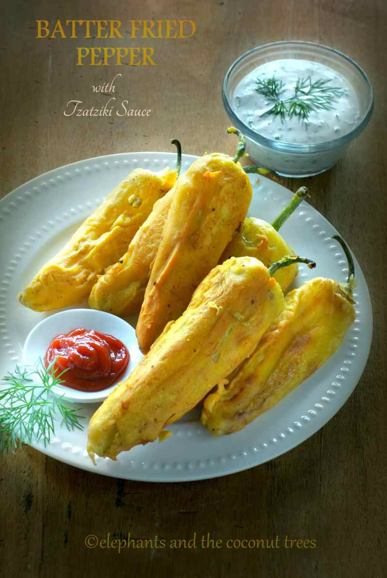 batter fried pepper / mirchi pakoda