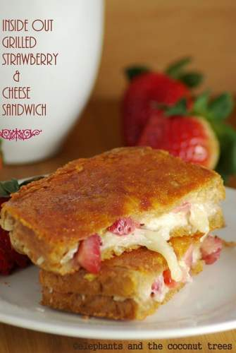 inside out grilled cheese n strawberry sandwich