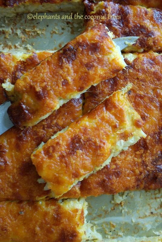 No grate cauliflower breadsticks without flour