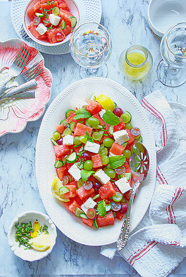 watermelon salad with feta cheese and grapes