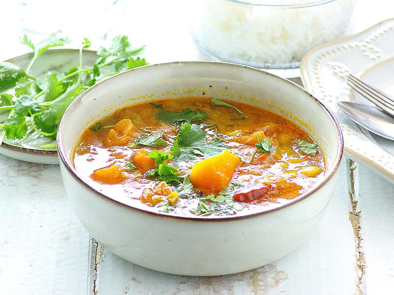 pumpkin and lentil mild curry