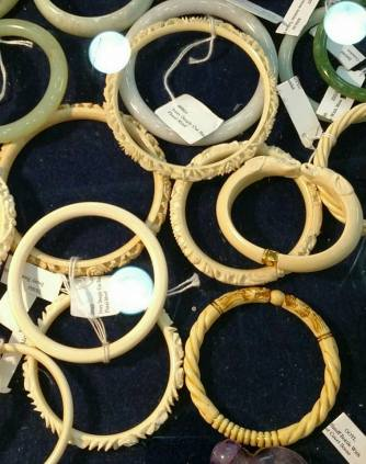 Ivory bracelets for sale in Baltimore, MD, in 2015. (photo by Heidi Osterman)