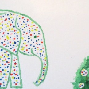 Dot Painted Elephant and Shrub by Addison ACEO Original Watercolor Elephant Painting