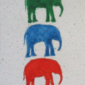 1 Green, 1 Blue, 1 Red Elephant,With Splatter, by Addison : ACEO Original Watercolor Elephant Painting