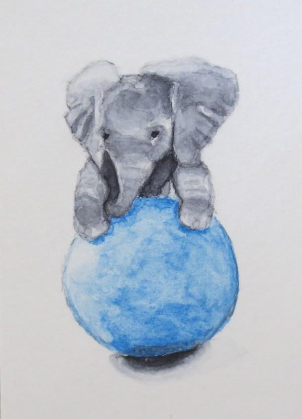 Elephant Art Addison Baby Elephant with blue ball looks like earth (3)