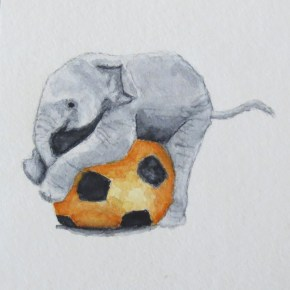 Baby Elephant Playing With Orange Soccer Ball, by Addison : ACEO Original Watercolor Elephant Painting