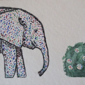 Pointillism Elephant With Bumble Fruit Shrub, by Addison : ACEO Original Watercolor Elephant Painting
