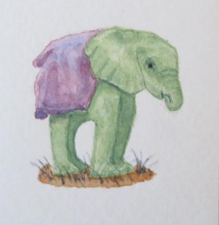 elephant art addison green Baby elephant purple blankey (2)