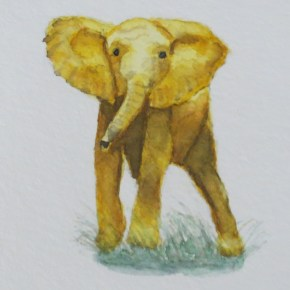 Yellow Gold Elephant Gazing Inquisitively, by Addison : ACEO Original Watercolor Elephant Painting