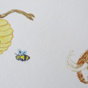 Woolly Mammoth Elephant in Profile & Yellow Beehive With Bee, by Addison : Original Watercolor Elephant Painting