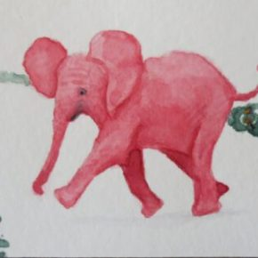 Red Baby Elephant Walking Across Road by Addison : ACEO Original Watercolor Elephant Painting