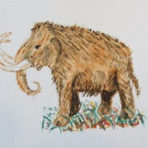 Woolly Mammoth Elephant by Addison : ACEO Original Watercolor Elephant Painting