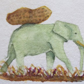 Green Elephant With Peanut, Surrealism by Addison : ACEO Original Watercolor Elephant Painting