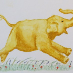 Yellow Gold Leaping Elephant by Addison : ACEO Original Watercolor Elephant Painting