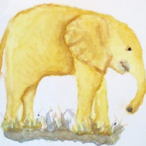 Yellow Gold Elephant by Addison : ACEO Original Water Color Elephant Painting